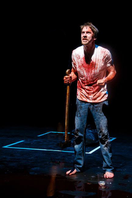 "Tyler Eglen in ""Wolves,"" 2012, Stray Cat Theatre. (Photo by John Groseclose)"