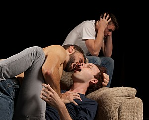 Adam Pinti (left), Sam Wilkes and Tyler Eglen In Stray Cat Theatre's Wolves. (Photo by John Groseclose)