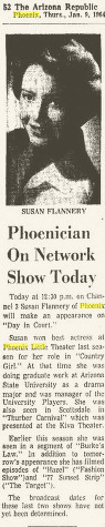 Susan Flannery Phoenix Arizona Republic, January 9, 1964