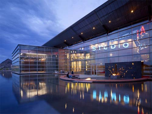 A lakeside view of the center at night. (Photo courtesy of the Tempe Center for the Arts)