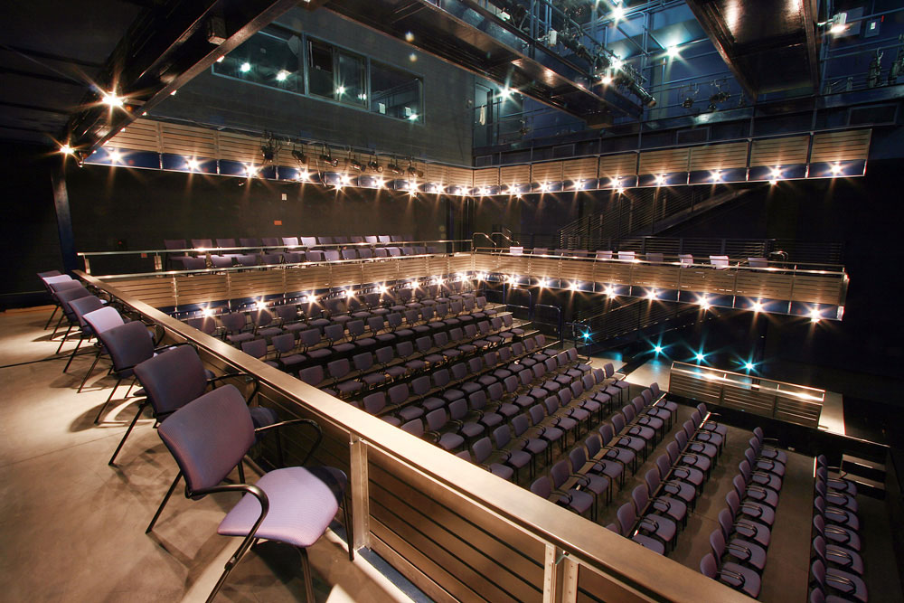 The 600 seat main theater (top); the 200 seat studio theater. (Photos courtesy of the center)