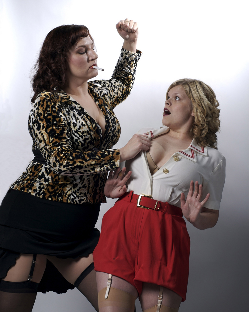 Tracy Payne and Kim Jeffries in Pulp, 2008, Stray Cat Theatre. Photo by John Groseclose.