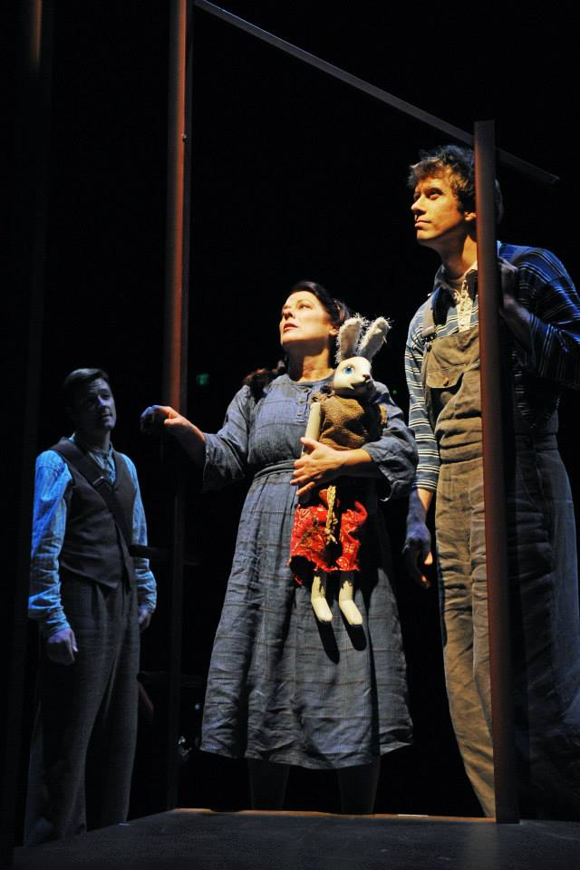 Childsplay. 2013. The Miraculous Journey of Edward Tulane. Bryce (David Dickinson) and his sister Sarah Ruth (Debra K. Stevens) look out at the night sky. Shown here with Kyle Sorrell as The Musician/Voice of Edward. (Photo by Tim Trumble.)