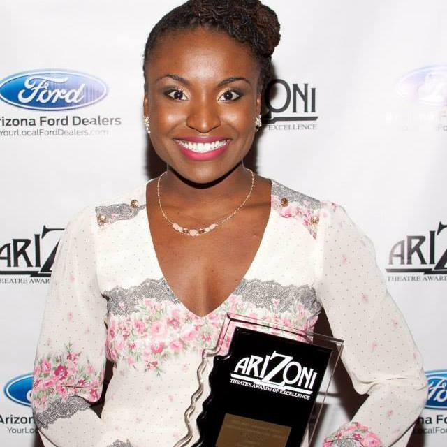 Brittney poses with her ariZoni Award.