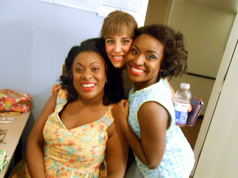 "Chanel Bragg, Lynzee Paul Foreman and Brittney Mack backstage at ""Memphis,"" 2014, Phoenix Theatre. (Photo from Lynzee's FB page.)"