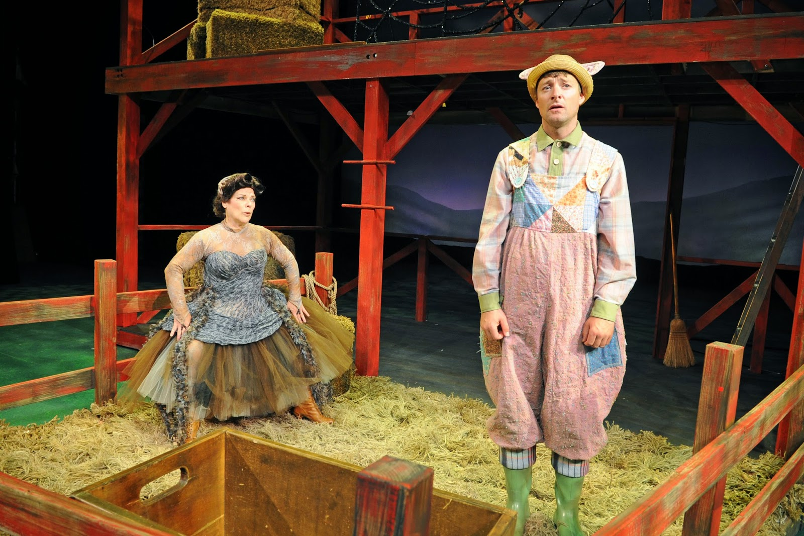 "2014. Childsplay, ""Charlotte's Web."" Debra K. Stevens, Kyle Sorrell. Costume design by Adriana Diaz. (Photo credit unknown)"