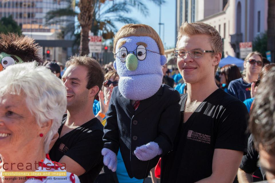 Chris Karl and Cooper Hallstrom representing 'Avenue Q' at AIDSwalk Tucson!