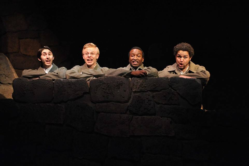 Chris Okawa, Michael Calvoni, Cooper Hallstrom and Kendrick Stallings in the UofA 2013 'Cymbeline.' (Photo credit unknown)