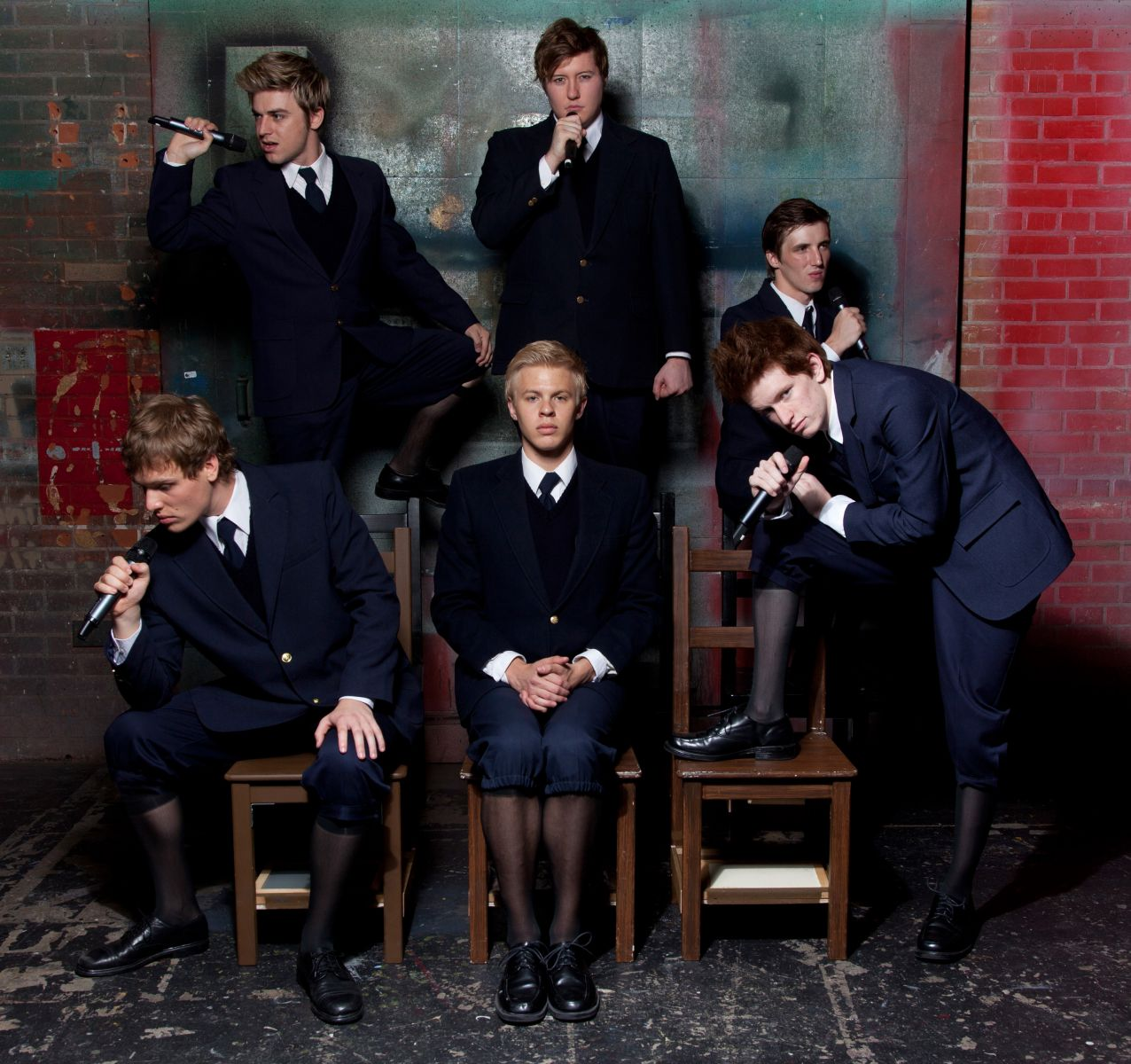 "Phoenix Theatre, ""Spring Awakening."" Clockwise from Left: Sean Mullaney, Evan Tyler Wilson, Devon Nickel, Matthew Cordon, Cooper Hallstrom, Maxx Schau. (Photo by Jerry O'Connor)"