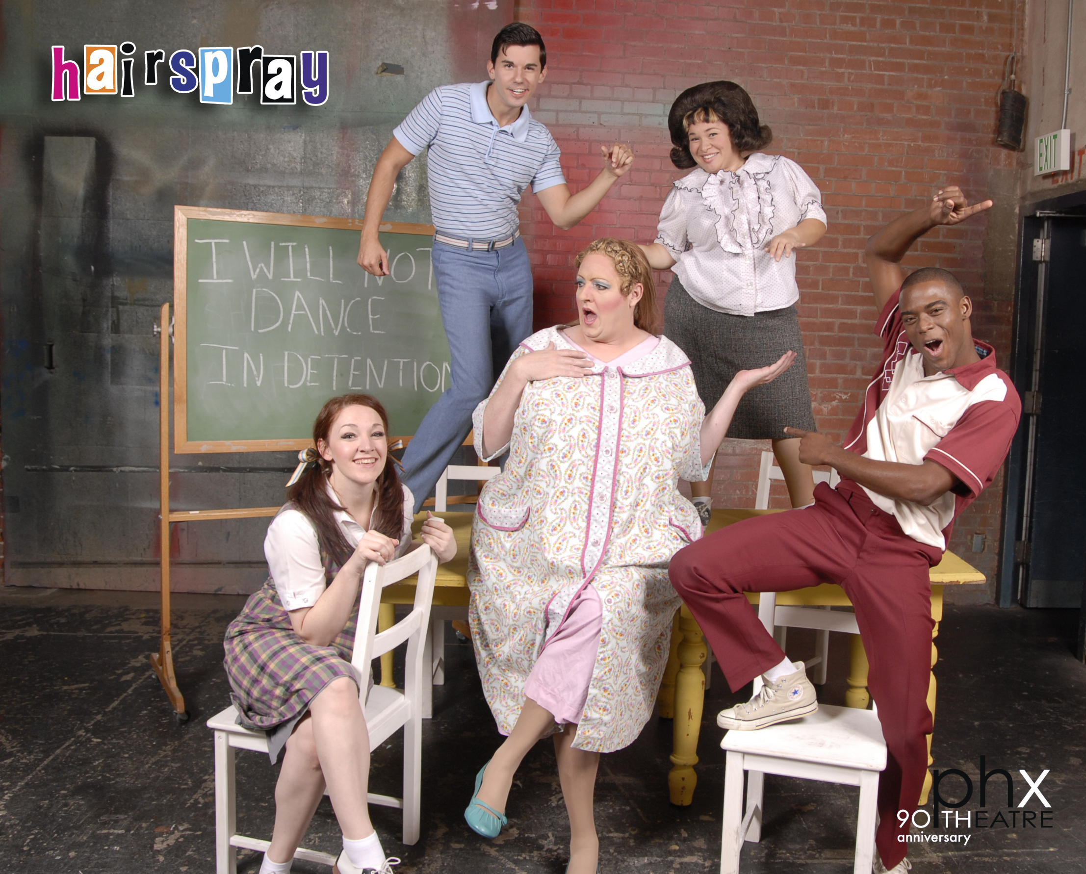 Shawna Quain, Chase Todd, Lillian Castillo, Antyon Le Monte and D. Scott Withers (center) of Phoenix Theatre's 'Hairspray'. (Photo by Laura Durant)