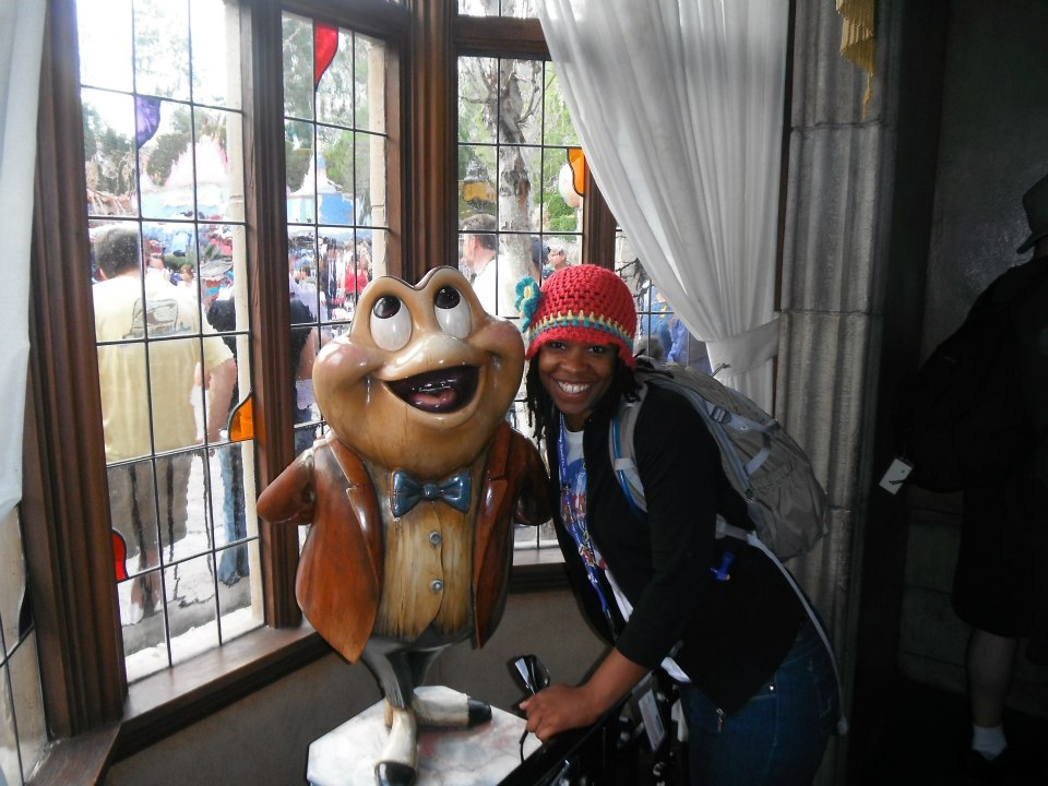 Yolanda London takes Mr Toad on a wild ride at Disneyland
