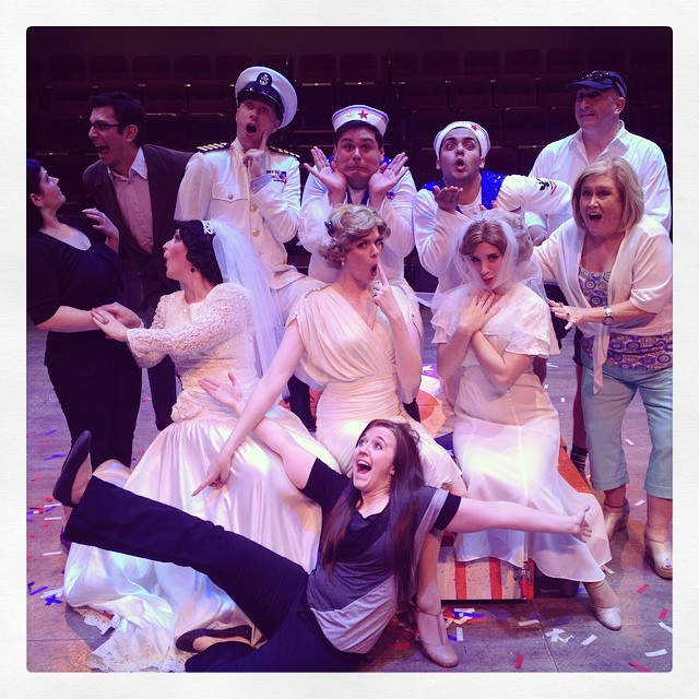 """Dames at Sea"" with Rebecca Guthrie Barney, Emmy Ant, Laura Pyper, Vinny Chavez, Julian-Sebastian Peña, Nellie Ruth, Kate E Cook, Emily Giauque Evans, Cambrian James and Kelly Crews at Hale Centre Theatre. (Photo from Vinny Chavez' Facebook Page)"