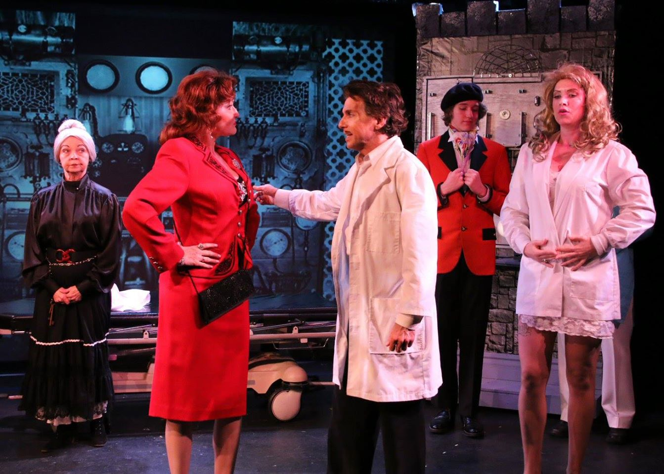 Fountain Hills Theatre. 2015. Young Frankenstein. Noel Irick, Janine Smith, Patrick Russo, unidentified actor, Morgan Ottersbach. (Photograph courtesy of Morgan's FB album.)