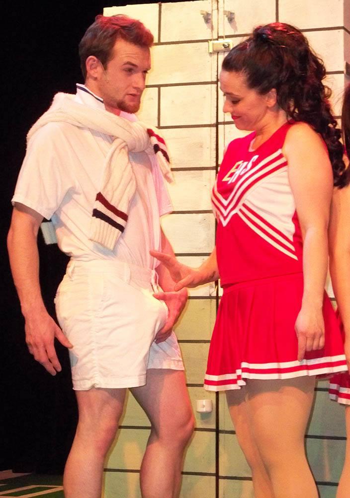 Nearly Naked Theatre Company. 2014-2015 Season. Debbie Does Dallas. Cole Brackney, Brandi Bigley. Photo by Laura Durant.