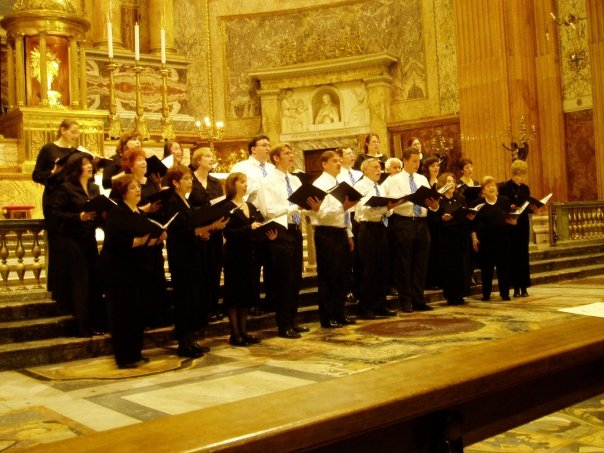 St. Andrew the Apostle Adult Choir (2005) — with Bridget Dryja Ernst, Jennifer Pigeon, Becky Bashaw Berenyi, Russ Ernst, Tricia Nelson, George Gill and Loretta Forti at St. Peter's Basilica.