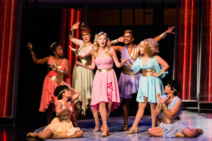 Arizona Theatre Company. 2014. Xanadu. Jessica Skerritt (center). Photographer not credited.