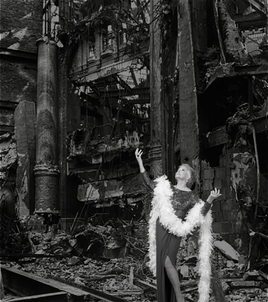Patti Davis Suarez recreates the famous Life Magazine photograph that inspired Stephen Sondheim to write ''Follies.'' Theater Works, 2015. Photo not credited, possibly by Wade Moran or Alastair Gamble.