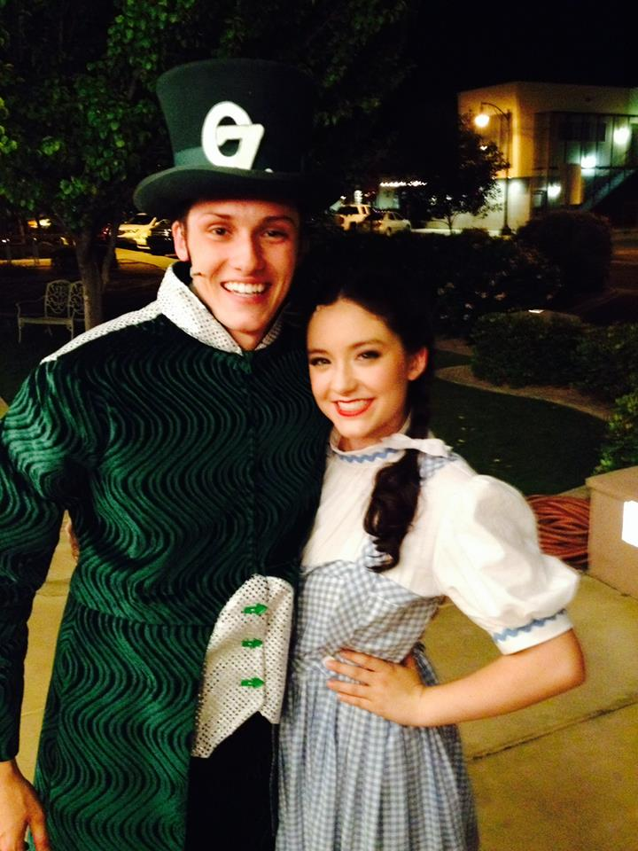 "2015. Jessie Jo poses with a resident of the Emerald City in ""The Wizard of Oz"" at Hale Centre Theatre. (Facebook Photo)"