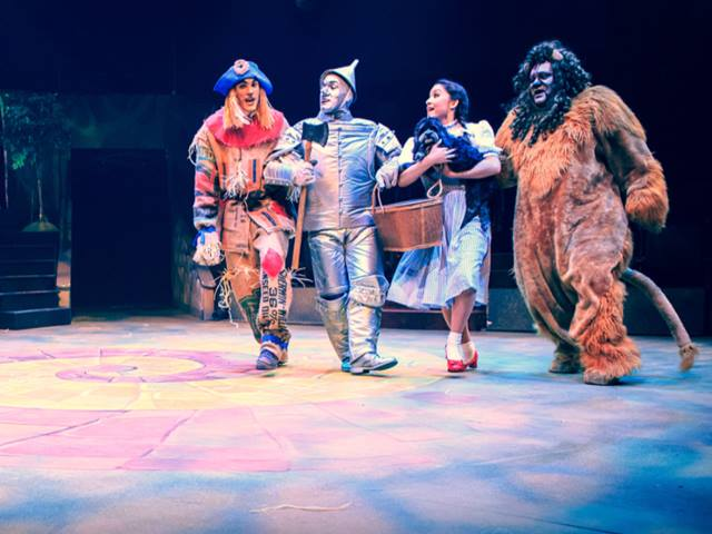 2015. Hale Centre Theatre. 'The Wizard of Oz.' Jessie Jo Pauley is Dorothy, Vinny Chavez is the Tinman, Jesse Thomas Foster is Scarecrow and Geoff Goorin is the Cowardly Lion. (Photo by Nick Woodward-Shaw)
